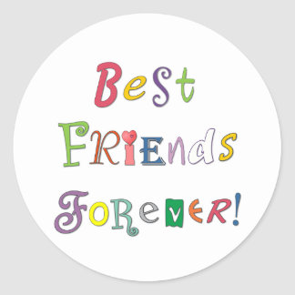 Mejores amigos para siempre etiqueta redonda