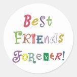Mejores amigos para siempre pegatina redonda