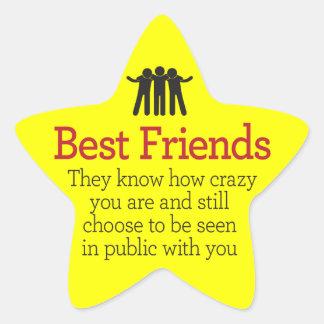 Mejores amigos pegatina forma de estrella personalizadas