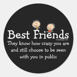 Mejores amigos pegatina redonda