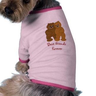 Mejores amigos que abrazan la camiseta del perro d camiseta con mangas para perro