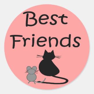 Mejores amigos-- Ratón y gato Pegatina Redonda