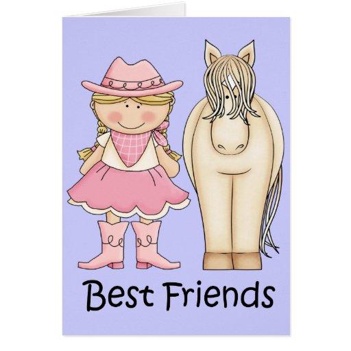 Mejores amigos - vaquera y caballo rubios tarjeton