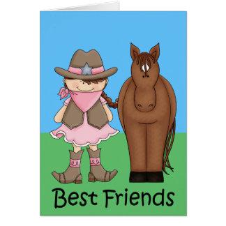 Mejores amigos - vaquera y caballo triguenos felicitaciones