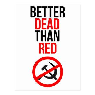 Mejores muertos que rojo postales