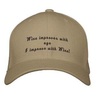 Mejoro con el gorra bordado divertido del vino gorra de béisbol