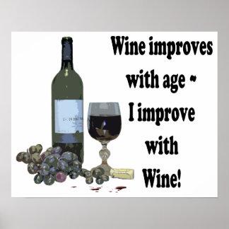 Mejoro con el vino, poster chistoso del arte