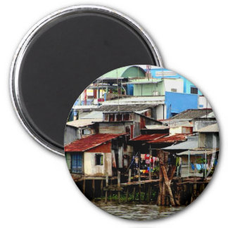 Mekong River Houses 2 Inch Round Magnet