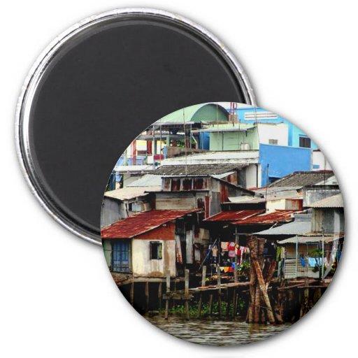 Mekong River Houses Fridge Magnets
