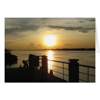 Mekong River Sunset ... Nong Khai, Isaan, Thailand Greeting Card