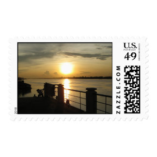 Mekong River Sunset ... Nong Khai, Isaan, Thailand Postage Stamp