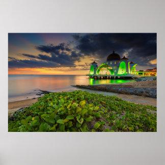 Melaka During Sunset | Masjid Selat Poster
