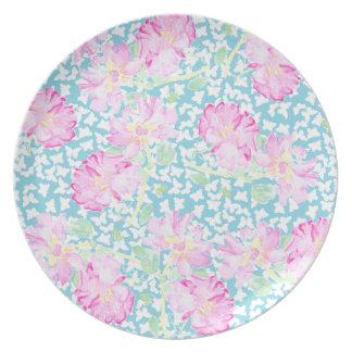 Melamine Dinner Plate Pink Roses White Butterflies