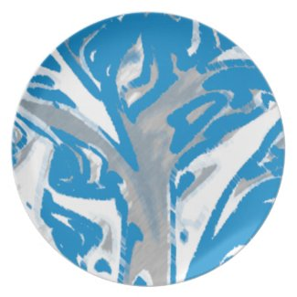 Melamine Plate Blue Tree