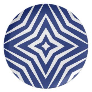 Melamine plate in blue Weis Karo