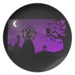 Melamine Plate - Purple & Black Unicorn Silhouette Plato Para Fiesta