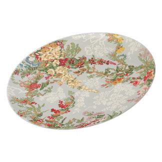 Melamine Plate with a floral vintage illustration