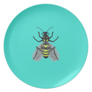 Melamine Plate with Colorful Bee