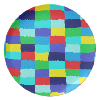 Melamine plate with multicolored chessboard sample