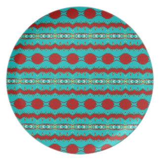 Melamine Plate with Teal and Red Abstract