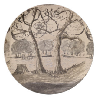 Melamine Plate with Tree Landscape