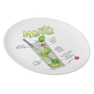 MELAMINE PLATES - MOJITO RECIPE COCKTAIL ART