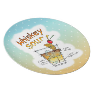MELAMINE PLATES - WHISKEY SOUR RECIPE COCKTAIL ART