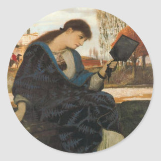 Melancholia by Arnold Böcklin Classic Round Sticker