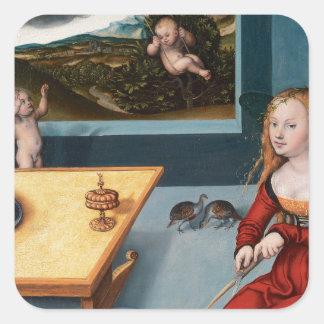 Melancholy by Lucas Cranach the Elder Square Sticker