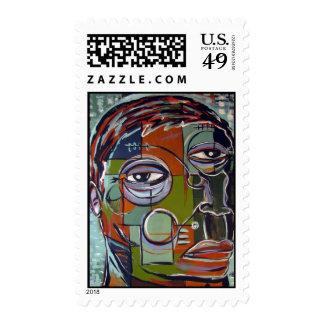 Melancholy man stamps