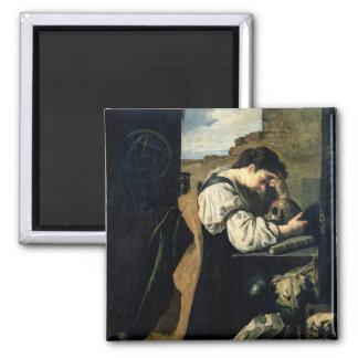 Melancholy (oil on canvas) 2 inch square magnet