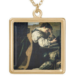 Melancholy (oil on canvas) gold plated necklace