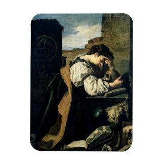 Melancholy (oil on canvas) rectangular photo magnet