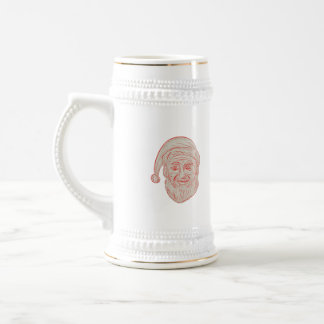 Melancholy Santa Claus Head Drawing Beer Stein