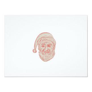 Melancholy Santa Claus Head Drawing Card