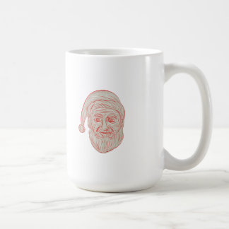 Melancholy Santa Claus Head Drawing Coffee Mug