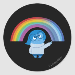 Round Sticker with Inside Out's Sadness with Rainbow design