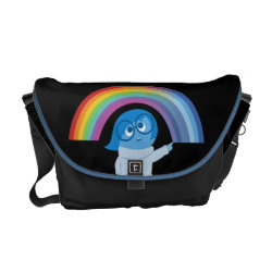 Rickshaw Medium Zero Messenger Bag with Inside Out's Sadness with Rainbow design