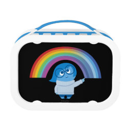 Blue yubo Lunch Box with Inside Out's Sadness with Rainbow design