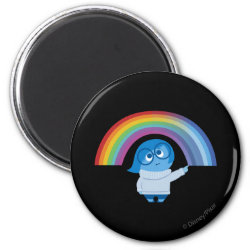 Round Magnet with Inside Out's Sadness with Rainbow design