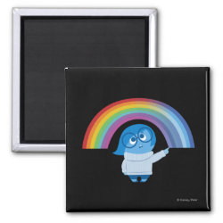 Square Magnet with Inside Out's Sadness with Rainbow design
