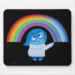 Mousepad with Inside Out's Sadness with Rainbow design