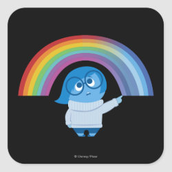 Square Sticker with Inside Out's Sadness with Rainbow design