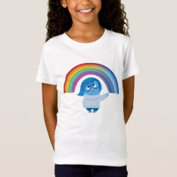 Girls' Fine Jersey T-Shirt with Inside Out's Sadness with Rainbow design
