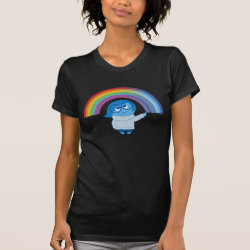 Women's American Apparel Fine Jersey Short Sleeve T-Shirt with Inside Out's Sadness with Rainbow design