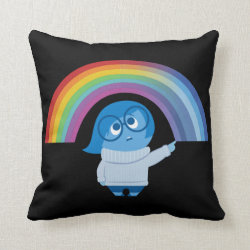 Cotton Throw Pillow with Inside Out's Sadness with Rainbow design