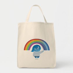 Grocery Tote with Inside Out's Sadness with Rainbow design