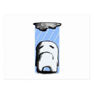 Melancólico con una ocasión de la lluvia postal