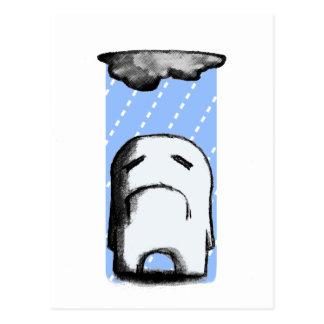 Melancólico con una ocasión de la lluvia postales