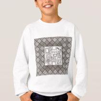 Melange-Abstract Geometric Doodle Pattern Sweatshirt